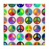 Peace Signs-colorful Tile Coaster
