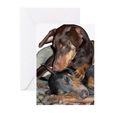 Red & Blue Doberman Greeting Cards (Pk of 10)
