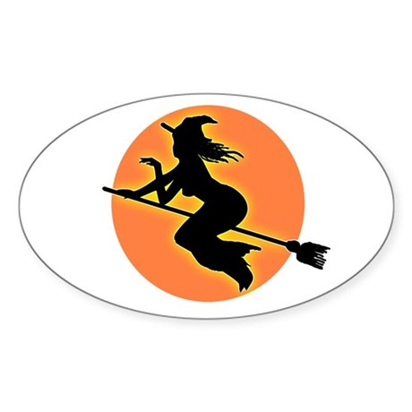 Witch Moon Oval Sticker
