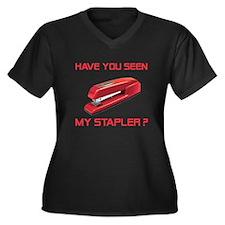Red Stapler Women's Plus Size V-Neck Dark T-Shirt