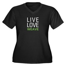 Live Love Weave Women's Plus Size V-Neck Dark T-Sh