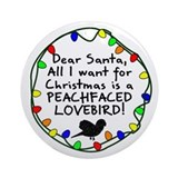 Dear Santa Peachfaced Lovebird Christmas Ornament