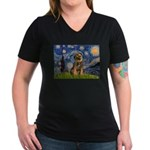 Starry Night / Border Terrier Women's V-Neck Dark