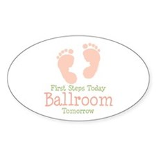 Pink Footprints Ballroom Dancing Oval Decal