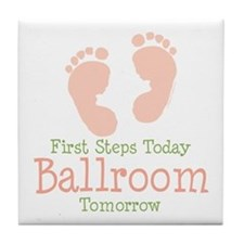 Pink Footprints Ballroom Dancing Tile Coaster