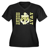 Anchors Away! Women's Plus Size V-Neck Dark T-Shir
