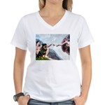 Creation/Rottweiler Women's V-Neck T-Shirt