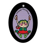 Jump Rope Elf Oval Ornament