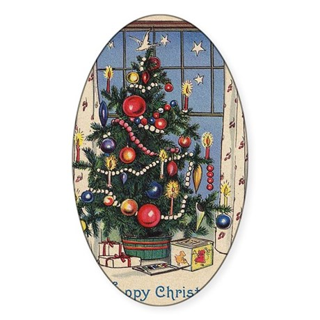 Christmas Tree Oval Sticker