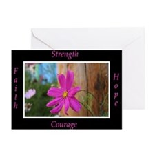 Survivors Pink Flower Greeting Cards (Pk of 20)