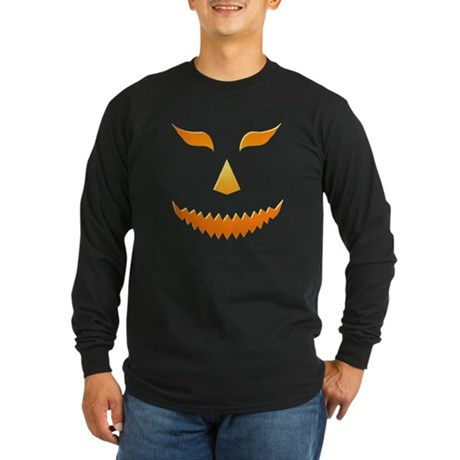 Scary Pumpkin Long Sleeve Dark T-Shirt