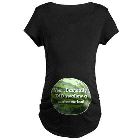 Swallow a Watermelon Maternity Dark T-Shirt