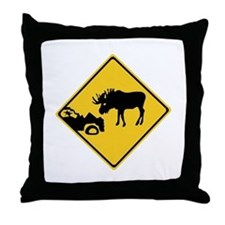 Beware of Moose, Canada Throw Pillow