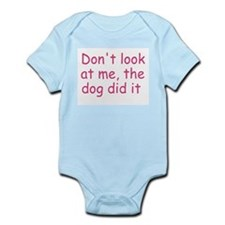 dog did it pink Infant Bodysuit