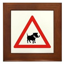 Beware of Warthogs, South Africa Framed Tile