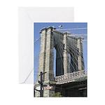 Brooklyn Bridge at Old Fulton Greeting Cards (Pk o