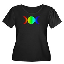 Wmn Plus Size Scoop T Dk-Triple Moon Rainbow