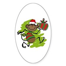 Santa Monkey Oval Decal