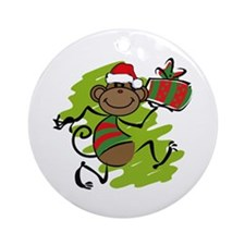Santa Monkey Christmas Ornament (Round)