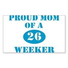 Proud Mom 26 Weeker Rectangle Decal