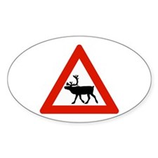 Caution Reindeers, Norway Oval Decal