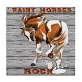 Paint Horses Rock Tile Coaster