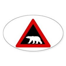 Beware of Polar Bears, Norway Oval Decal