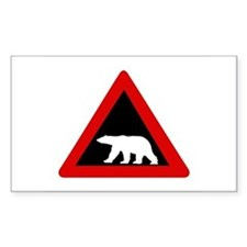 Beware of Polar Bears, Norway Sticker (Rectangular