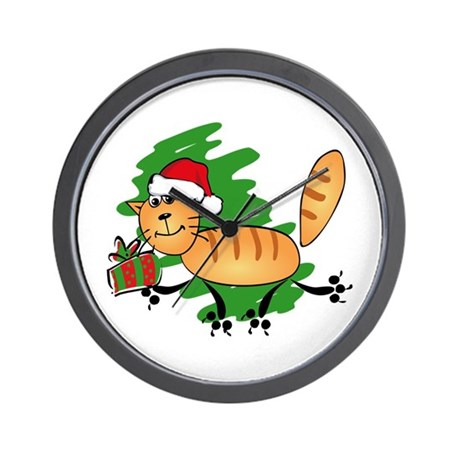 Santa Kitty Wall Clock