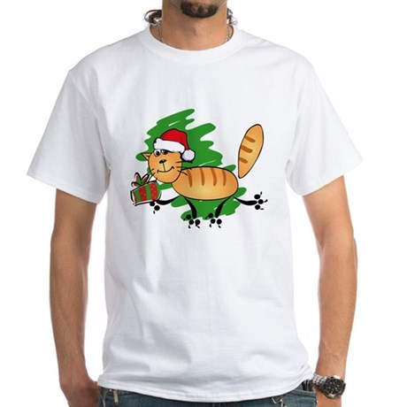 Santa Kitty White T-Shirt