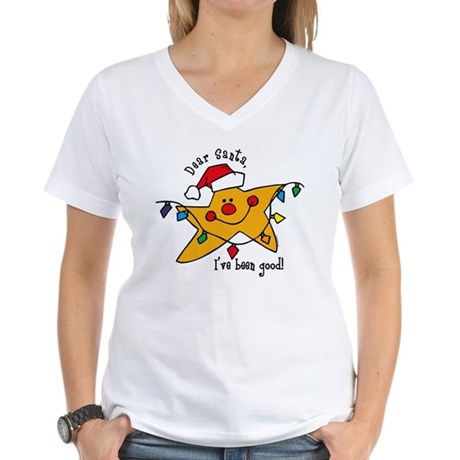 Dear Santa Star Women's V-Neck T-Shirt