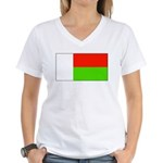 Madagascar Blank Flag Women's V-Neck T-Shirt