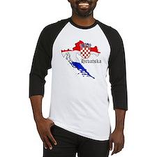 Croatia Flag Map Baseball Jersey
