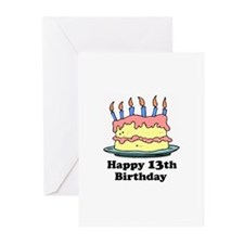 Happy 13th Birthday Greeting Cards (Pk of 10)
