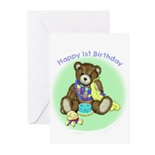 1st Birthday Party Invitations (Paper Cards-Pkg 6)