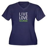 Live Love Nurse Women's Plus Size V-Neck Dark T-Sh