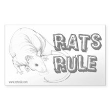 Rats Rule Hairless Rectangle Decal
