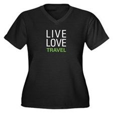 Live Love Travel Women's Plus Size V-Neck Dark T-S