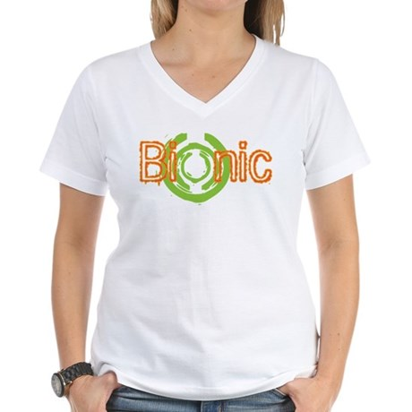 Bionic Television Tag Line Women's V-Neck T-Shirt