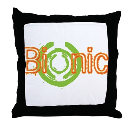 Bionic Television Tag Line Throw Pillow