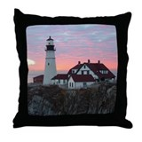 Portland Headlight Sunrise Throw Pillow