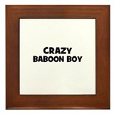 crazy baboon boy Framed Tile
