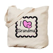 I Love Grandma Pink Hearts Tote Bag