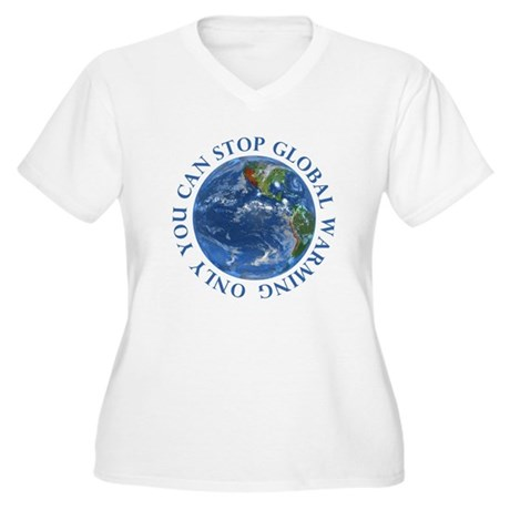 Stop Global Warming Ecology Women's Plus Size V-Ne