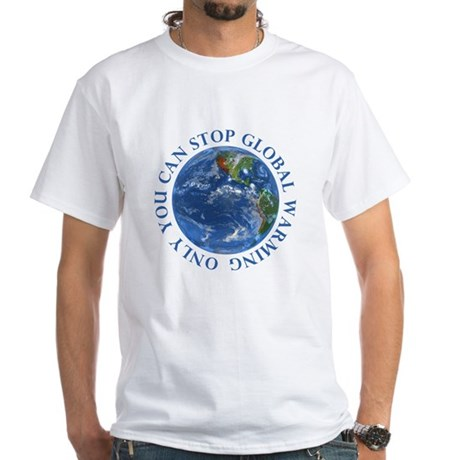 Stop Global Warming Ecology White T-Shirt