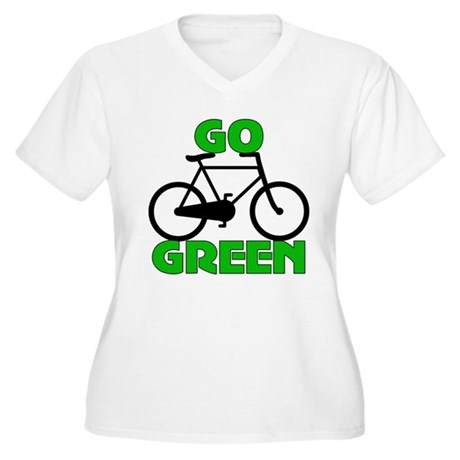 Go Green Bicycle Ecology Women's Plus Size V-Neck