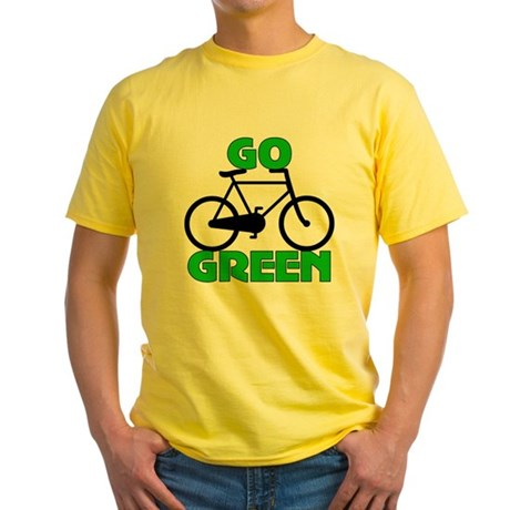 Go Green Bicycle Ecology Yellow T-Shirt