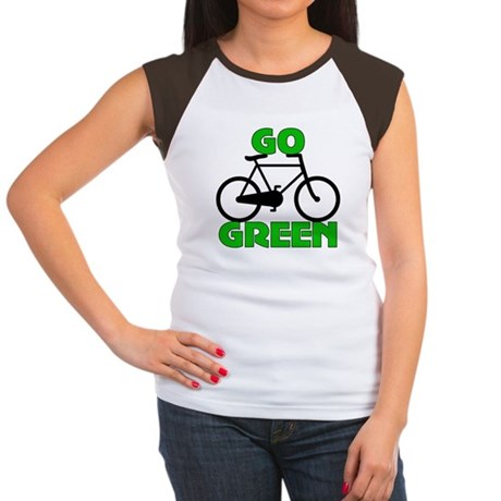 Go Green Bicycle Ecology Women's Cap Sleeve T-Shir