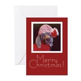 Weimaraner Santa Hat Cards (Pk of 20)