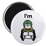 I'm 3 Race Car Magnet